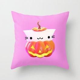 Pumpkin Cat Throw Pillow