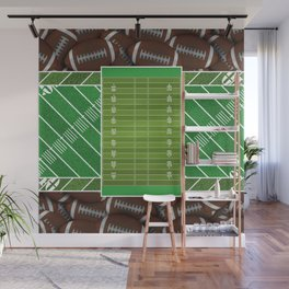 Bright Green Football Field and Footballs Wall Mural