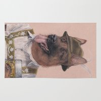 german shepherd Area & Throw Rugs featuring German Shepherd by Rachel Waterman