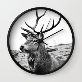 The Stag on the hill - b/w Wall Clock