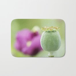 Hungarian Blue Bread Seed Poppy | Seed Pod Alternate Perspective Bath Mat
