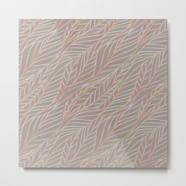 Woven Pink and Green Leaves on Grey Back Metal Print