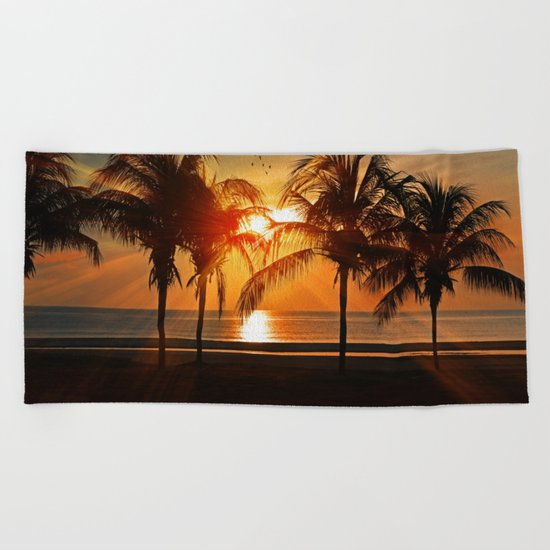 Sunset in the Tropical Islands Beach Towel