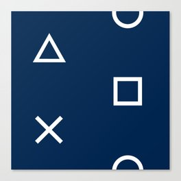 Playstation Controller Pattern - Navy Blue Canvas Print