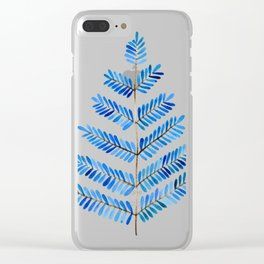 Blue Leaflets Clear iPhone Case