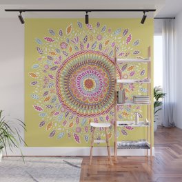 Yellow Sunflower Mandala Wall Mural