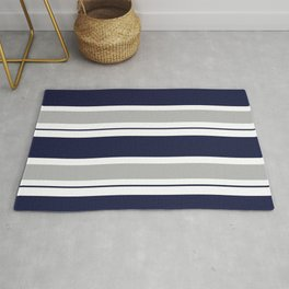 Navy Blue and Grey Stripe Rug