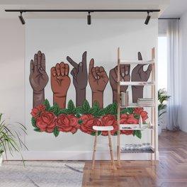 Melanin ASL Teacher Sign Language Be Kind Hand Deaf Person Wall Mural