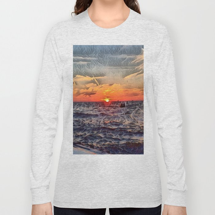Lake Michigan Romantic Sunset Long Sleeve T-shirt