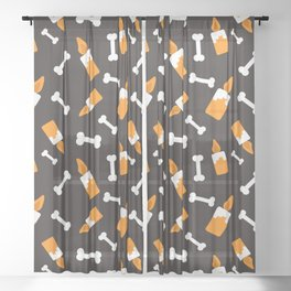 Happy halloween bones and candles pattern Sheer Curtain