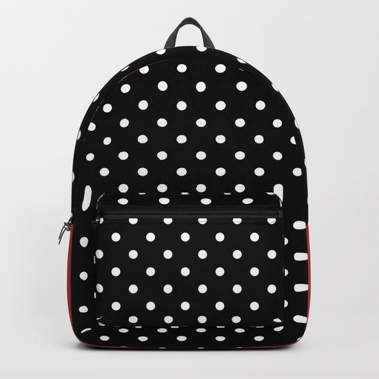 Bright black and red background with a white pattern. Backpack