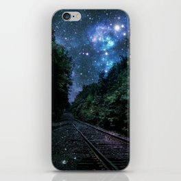 Train Tracks : Next Stop Anywhere Blue Side View iPhone Skin