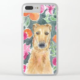 Whippet in the flowers Clear iPhone Case