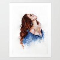lindsay lohan Art Prints featuring Lindsay by Inna Nova