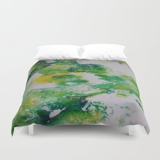 Its about space - in greens and yellows Duvet Cover