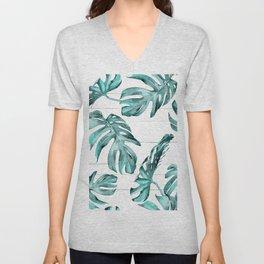 Turquoise Palm Leaves on White Wood Unisex V-Neck
