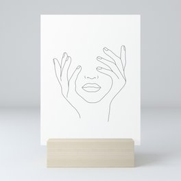 Minimal Line Art Woman with Hands on Face Mini Art Print