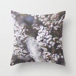 The Smallest White Flowers 01 Throw Pillow