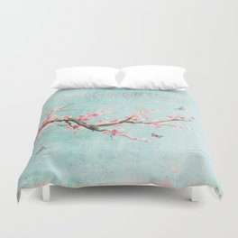 Live life in full bloom - Romantic Spring Cherry Blossom butterfly Watercolor illustration on aqua Duvet Cover