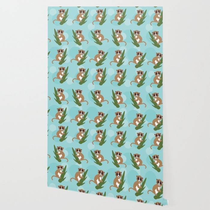 pattern - lemur on green branch on blue background Wallpaper