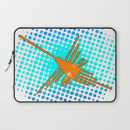 Distressed Nazca Lines Hummingbird On Gradient Blue Galaxy Laptop Sleeve