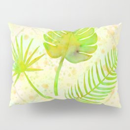 Tropical Leaf Watercolor Painting, Green Palm Tree Leaves Pillow Sham