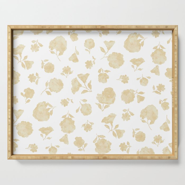 Cream Shadow Bloom Serving Tray