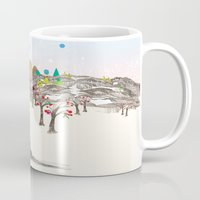 merry christmas Mugs featuring MERRY CHRISTMAS!!!!! by Jo Cheung Illustration
