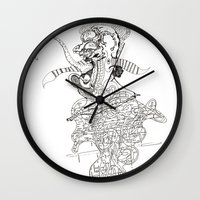 punk rock Wall Clocks featuring traditional punk rock amoeba by Lanny Quarles