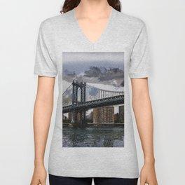 Grey Rainy Day at Manhattan Bridge NYC Unisex V-Neck