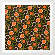 Geometric Pattern #161 (orange hexagons) Art Print