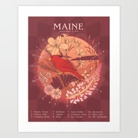 maine Art Prints featuring Maine by Lauren Rakes