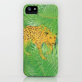 Leopard with tropical leaves iPhone Case