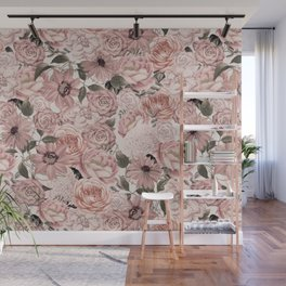 Vintage Floral Allover In Peach Pastels Wall Mural