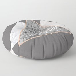 BLUSH GRAY COPPER MARBLE GEOMETRIC PATTERN Floor Pillow