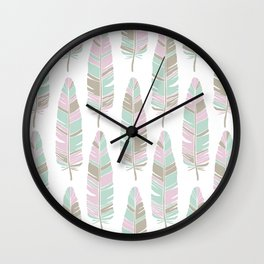 TRIBAL FEATHERS ON WHITE Wall Clock