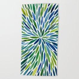 Watercolor Burst – Blue & Green Beach Towel