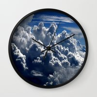 clouds Wall Clocks featuring clouds by  Agostino Lo Coco