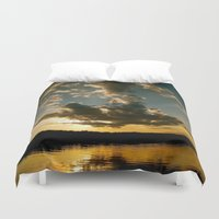fishing Duvet Covers featuring Fishing Sundown by Layton Zimmages