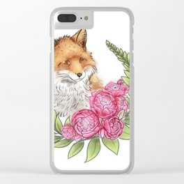 Fox in Bloom Clear iPhone Case