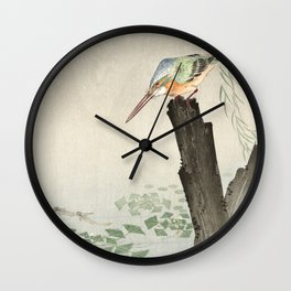 Kingfisher Hunting - Japanese Vintage Woodblock Print Art Wall Clock