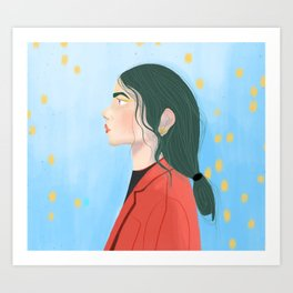 Profil girl with green hair Art Print
