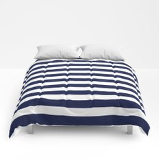 Stripe Horizontal Navy Blue Comforters