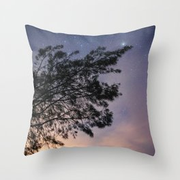 Amazing starry scene. Silhouette of a tree with colorful starry sky. Throw Pillow
