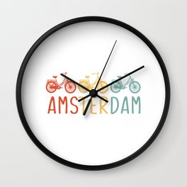 Amsterdam Retro Bicycle Souvenir TShirt Dutch Flag Shirt Netherlands Cycling Gift Idea  Wall Clock