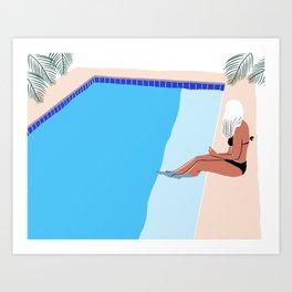 Poolside in Malcesine Art Print