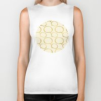 gold foil Biker Tanks featuring Cream Gold Foil 01 by Aloke Design
