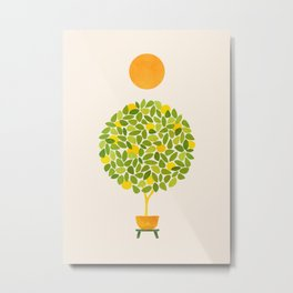 Sunshine + Lemon Tree Illustration Metal Print