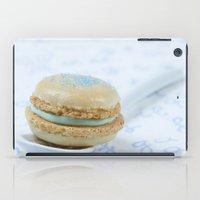 macaron iPad Cases featuring Blue macaron by Nuria Esquina