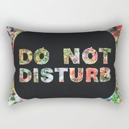 Do Not Disturb Sign in Black Circle and Flower Rectangular Pillow